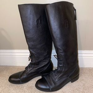 J. CREW BLACK LACE UP LEATHER RIDING BOOTS EUC 9